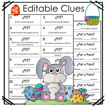 Spanish Easter Grammar Egg Hunt