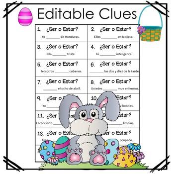 Spanish Easter Grammar Egg Hunt Ser_Estar