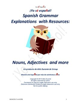 Nouns, Adjectives and more