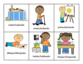 Spanish Grammar Game (Present Progressive, Pronouns, and Articles)