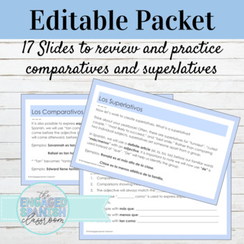 Spanish Comparatives and Superlatives Practice Packet