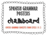 Spanish Grammar Posters - Chalkboard Theme with Red Text