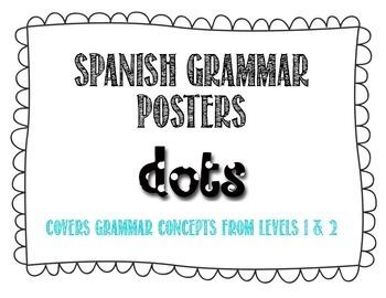 Spanish Grammar Posters - Polka Dots Theme