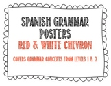 Spanish Grammar Posters - Red Chevron Theme