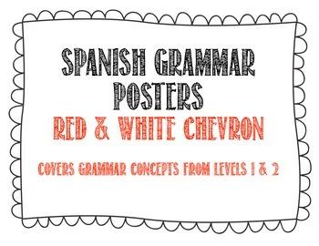 Spanish Grammar Posters - Red Chevron Theme