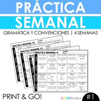 Weekly Spanish Grammar Practice for 4 Weeks with 80 Practice Activities! #1