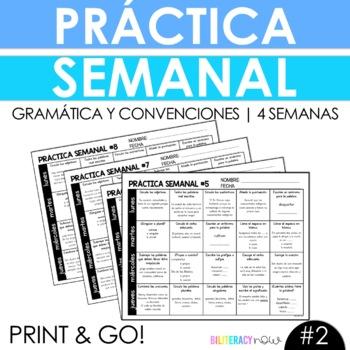 NEW Weekly Spanish Grammar Practice for 4 Weeks with 80 Grammar Activities #2!