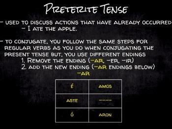 "Spanish Grammar Presentation: Conjugating the Preterite - ""ir"", ""ser"" and -ar"