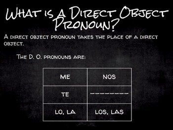 Spanish Grammar Presentation: Direct and Indirect Object Pronouns