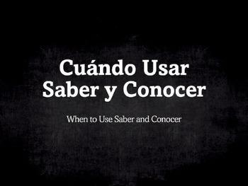 Spanish Grammar Presentation: Saber vs. Conocer