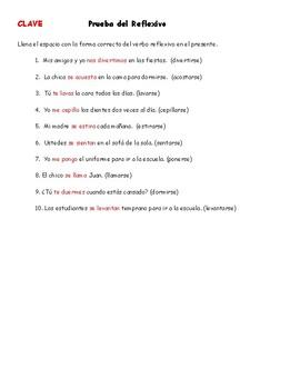 Spanish Grammar: Reflexive Quiz