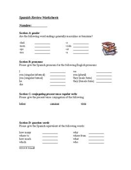 Beginner Spanish Review Worksheets