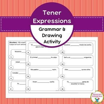 Spanish Grammar:  Tener Expressions Grammar & Drawing Activity
