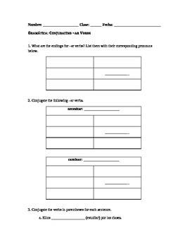 Spanish Grammar Worksheet: Conjugating the Present Tense -ar