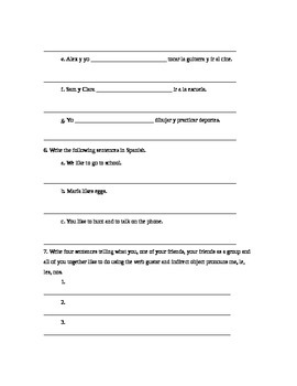 Spanish Grammar Worksheet: The Verb Gustar