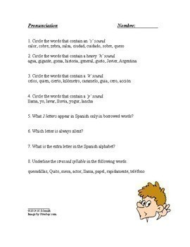 Spanish Beginner Worksheets Bundle ~ Pronunciation, Verbs, Prepositions, Gender