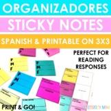 Spanish Graphic Organizers on Sticky Notes - Organizadores gráficos