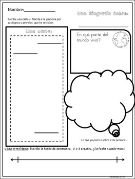 Spanish Graphic Organizers for Biographies