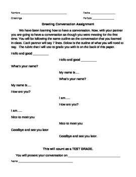 Spanish Greeting Conversation Assignment