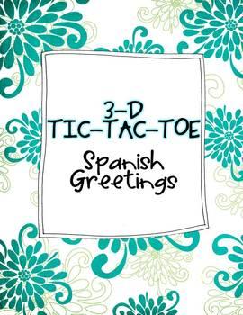 Spanish Greetings 3-D Tic-Tac-Toe Game