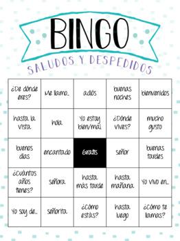 Spanish Greetings BINGO - Saludos y Despedidos