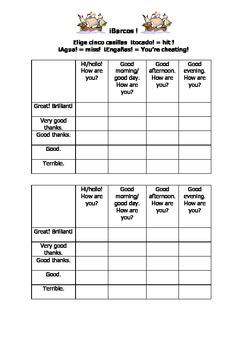 Spanish Teaching Resources. Greetings Battleships Game/ Lotto Grid.