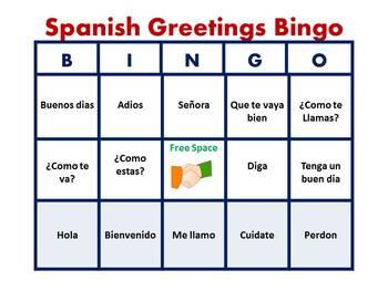 Spanish Greetings Bingo