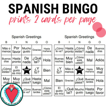 Spanish Greetings Bingo and Vocabulary List | Los Saludos