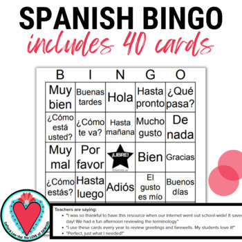 Spanish greetings bingo and vocabulary list los saludos tpt spanish greetings bingo and vocabulary list los saludos m4hsunfo
