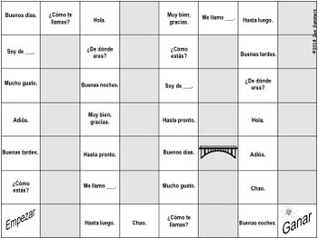 Spanish Greetings Board Game and Vocabulary - Los Saludos