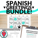 Spanish Greetings Bundle    Word Search, Crossword Puzzle, Bingo & Vocab Lists