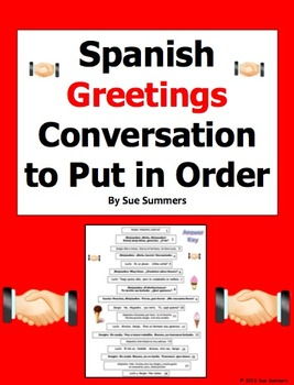Spanish Greetings Conversation To Put in Order / Greetings Skit