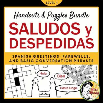 Spanish Greetings Farewells & Basic Conversation Handout, Crossword, Word Search