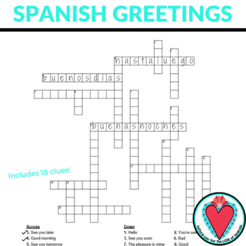 Spanish Greetings, Farewells, Expressions of Courtesy CROSSWORD #SCOLTdisplay
