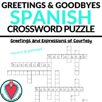 It is an image of Printable Spanish Crossword Puzzle with 6th grader