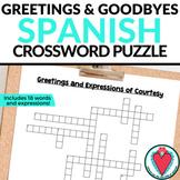 Spanish Greetings Crossword Puzzle - Fun Spanish Worksheets