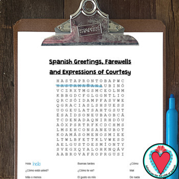 Saludos teaching resources teachers pay teachers spanish greetings word search los saludos m4hsunfo