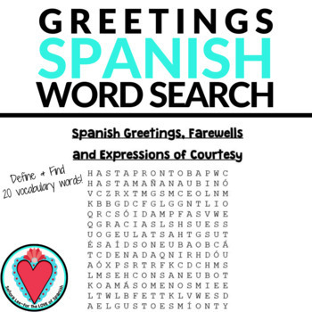 Spanish greetings word search los saludos tpt spanish greetings word search los saludos m4hsunfo