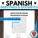 Spanish Greetings Word Search   Los Saludos