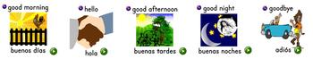 Spanish Greetings Flash Cards & Dice Game