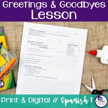 Spanish greetings worksheet teaching resources teachers pay teachers spanish greetings goodbyes lesson spanish greetings goodbyes lesson m4hsunfo