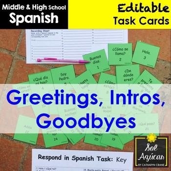 Spanish Task Cards - Greetings, Intros, Goodbyes, Small Talk