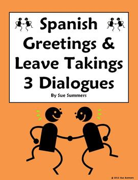 Spanish Greetings and Leave Takings 3 Dialogues Fill in the Blank