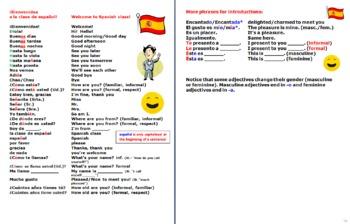 Spanish Greetings Leave Takings & Basics Vocabulary-Notebook