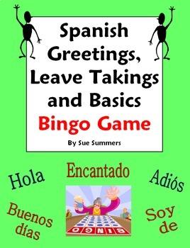 Spanish Greetings, Leave Takings, Courtesies and Basics Bingo Game