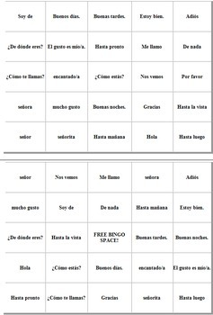 Spanish Greetings, Leave Takings, Courtesies and Basics Bingo Game