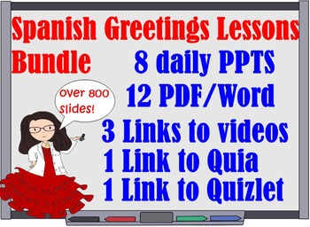 300 Spanish 1 Greetings Lessons Bundle for First Week of School and more!