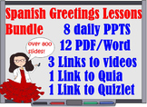 300 Spanish 1 Greetings Lessons Bundle for First Week of S