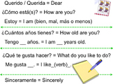 Spanish Greetings - Letter Format