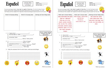 Spanish Greetings, Names, and Feelings Chart and Dialogues